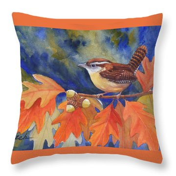 Carolina Wren In Autumn Throw Pillow