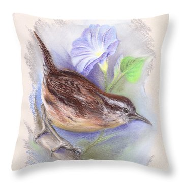 Carolina Wren With Morning Glory Throw Pillow