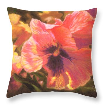 Caroline's Pansies Throw Pillow