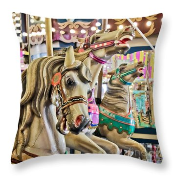 Carousel At Casino Pier Throw Pillow by Colleen Kammerer