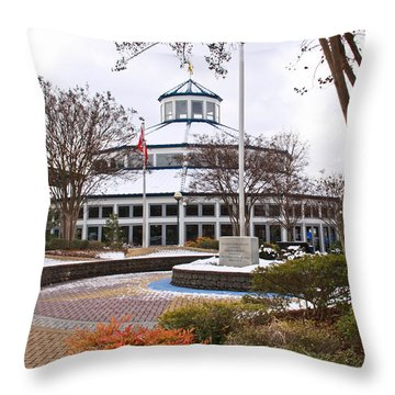 Carousel Building In Snow Throw Pillow by Tom and Pat Cory