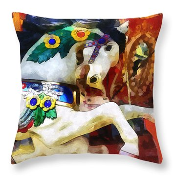 Carousel Horse Closeup Throw Pillow
