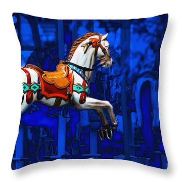 Throw Pillow featuring the photograph Carousel Horse by Gunter Nezhoda