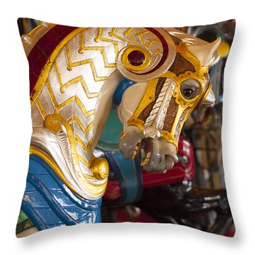 Colorful Carousel Merry-go-round Horse Throw Pillow by Jerry Cowart