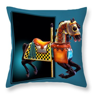 Carousel Horse Left Side Throw Pillow by Thomas Woolworth