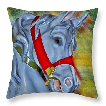 Carousel Horse Red Bridle Throw Pillow by Thomas Woolworth