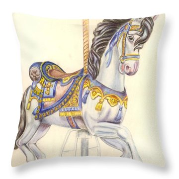 Carousel Horse  Throw Pillow by Ruth Seal