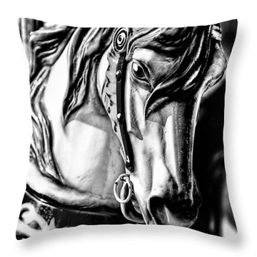 Carousel Horse Two - Bw Throw Pillow