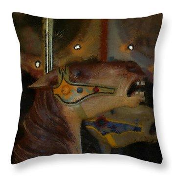 Carousel Horses Painterly Throw Pillow by Ernie Echols