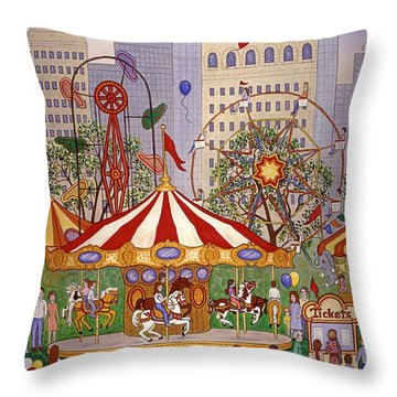 Carousel In City Park Throw Pillow by Linda Mears