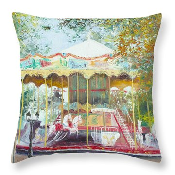 Carousel In Montmartre Paris Throw Pillow