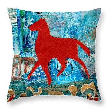 Carousel Throw Pillow by Patricia Cleasby