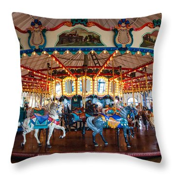 Throw Pillow featuring the photograph Carousel Ride by Jerry Cowart