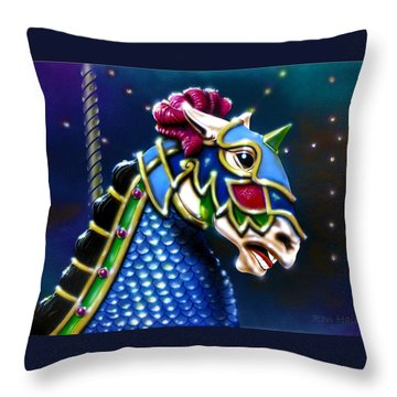 Throw Pillow featuring the painting Carousel  by Ron Haist