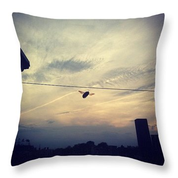 Carpenter Bees Abound On The Deck Throw Pillow