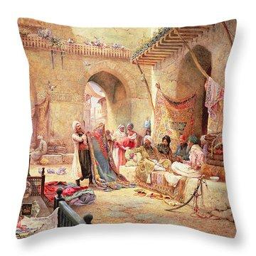 Carpet Bazaar, Cairo, 1887 Throw Pillow