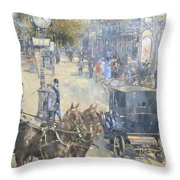 Carrefour Dronot, Intersection, Paris Oil On Canvas Throw Pillow