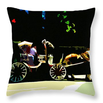 Carriage Ride Throw Pillow by CHAZ Daugherty
