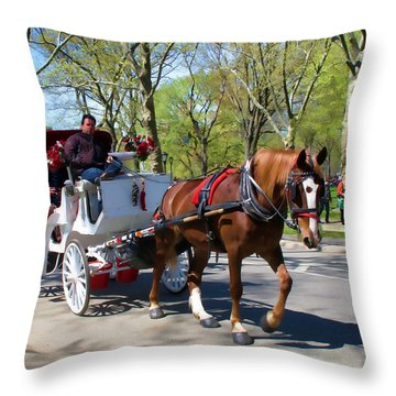 Throw Pillow featuring the photograph Carriage Ride In Central Park by Eleanor Abramson