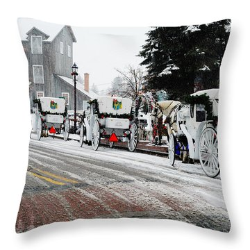 Carriage Ride Throw Pillow by Janice Adomeit
