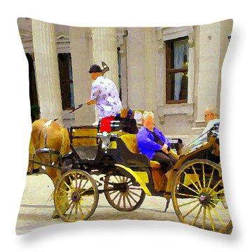 Carriage Ride On Cobblestones Rue Notre Dame Tan Horse Golden Caleche Old Port Quebec Scene Cspandau Throw Pillow by Carole Spandau