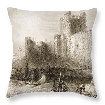 Carrickfergus Castle, County Antrim, Northern Ireland, From Scenery And Antiquities Of Ireland Throw Pillow