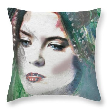 Carrie Under Veil Throw Pillow by Kim Prowse