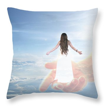 Carried By God's Hand Throw Pillow