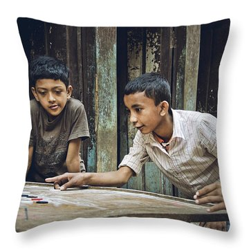 Carrom Boys Throw Pillow by Valerie Rosen