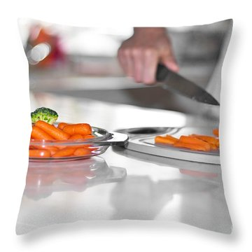 Throw Pillow featuring the photograph Carrot Cutting In Kitchen by Gunter Nezhoda