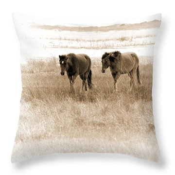 Carrot Island Ponies Throw Pillow