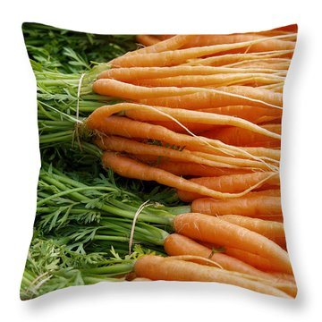 Throw Pillow featuring the digital art Carrots by Ron Harpham