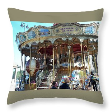 Throw Pillow featuring the photograph Carrousel De Paris by Barbara McDevitt