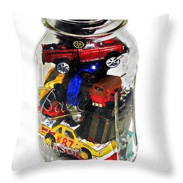 Cars In A Jar Throw Pillow by Susan Leggett