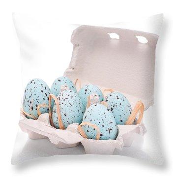 Carton Of Easter Eggs Throw Pillow by Amanda Elwell