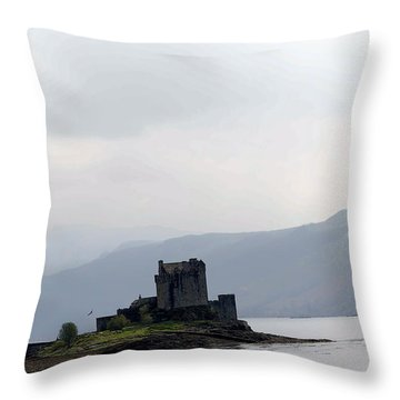 Cartoon - Eilean Donan Castle And The Bridge Over The Loch Throw Pillow
