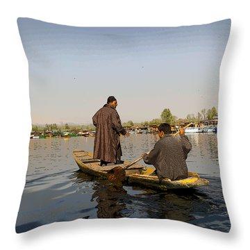 Cartoon - Kashmiri Men Plying A Wooden Boat In The Dal Lake In Srinagar Throw Pillow by Ashish Agarwal