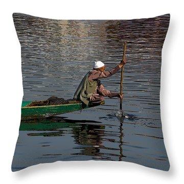 Cartoon - Man Plying A Wooden Boat On The Dal Lake Throw Pillow by Ashish Agarwal