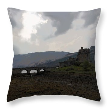 Cartoon - The Eilean Donan Castle Along With The Stone Bridge In Front Throw Pillow