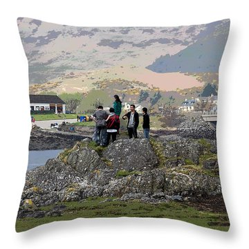 Cartoon - Tourists Trying To Get A Vantage View Of The Eilean Doonan Castle In Scotland Throw Pillow