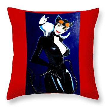 Comic Cat Woman Throw Pillow