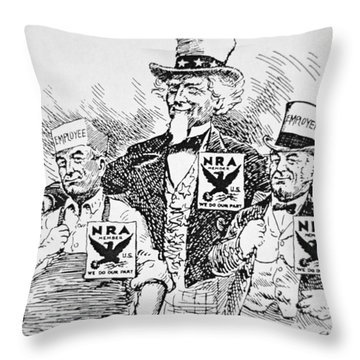 Cartoon Depicting The Impact Of Franklin D Roosevelt  Throw Pillow by American School