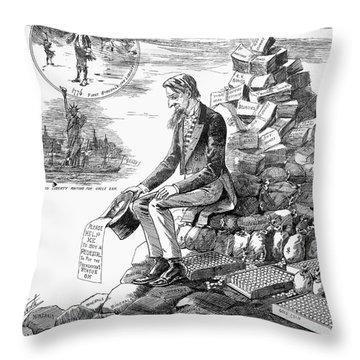 Cartoon Statue Of Liberty Throw Pillow
