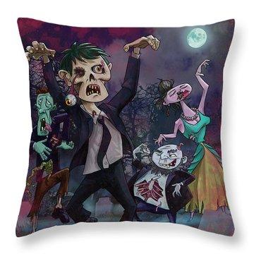 Cartoon Zombie Party Throw Pillow