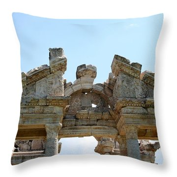 Carved Marble Of The Monumental Gate Throw Pillow by Tracey Harrington-Simpson