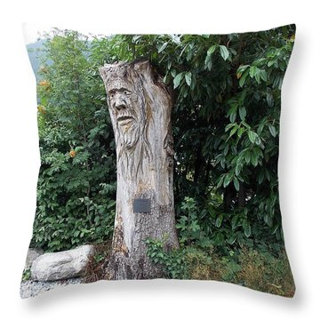 Carved Tree Throw Pillow
