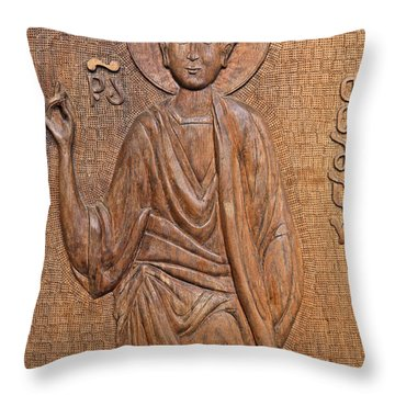 Carved Wooden Door At The Tsminda Sameba Cathedral Tbilisi Throw Pillow by Robert Preston