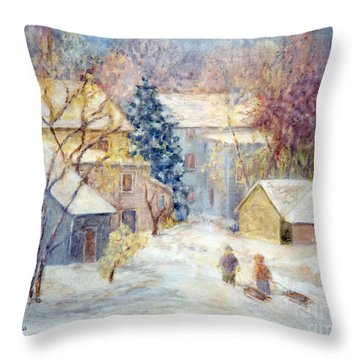 Carversville Snow Throw Pillow by Pamela Parsons