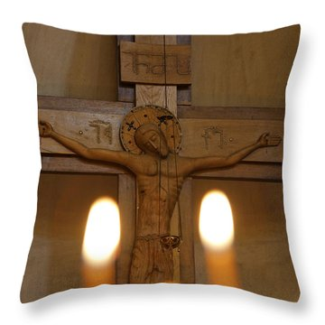 Carving Of Jesus Christ On The Cross Inside Tsminda Sameba Cathedral Tbilisi Throw Pillow by Robert Preston