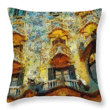 Casa Battlo Throw Pillow by Mo T